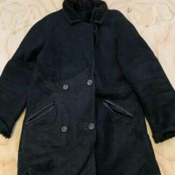 VTG FRENCH CREEK SHEEP & WOOL MEN SMALL BLACK 100% LEATHER SHEARLING COAT JACKET
