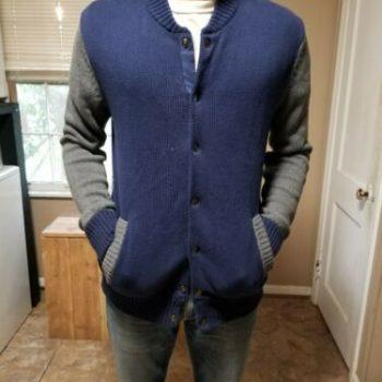 Mossimo 100% Men's Large Blue & Grey Lined Varsity-style Jacket