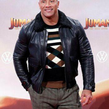 Dwayne Johnson Jumanji The Next Level Fur Color leather jacket For Men