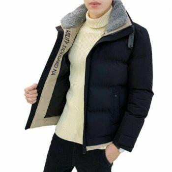 Men Cotton Winter Jackets Casual Short Coat For Man Lamb Collar Warm Jacket New