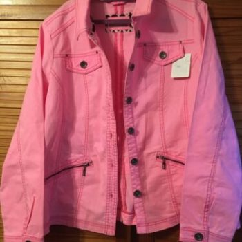 BNWT LADIES SIZE 22 GORGEOUS PINK FITTED DENIM JACKET SPRING COAT BRIGHT UNUSUAL