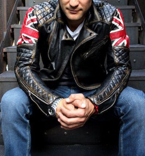 New Mens Biker Vintage Distressed Brown Union Jack Cafe Racer Leather Jacket