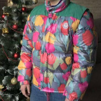 Authentic Moncler Vintage Grenoble Multicolor Puffer Goose Down Vest Jacket 80s