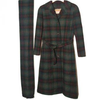 Vintage Pendleton Women's 8 Coat Long Trench Plaid Virgin Wool Green Scarf Belt