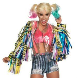 Women's Birds of Prey Harley Quinn Caution Tape Jacket