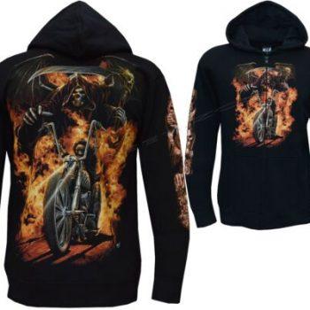 Grim Reaper Biker Ghost Rider Glow In The Dark Zip Zipped Hoodie Hoody Jacket