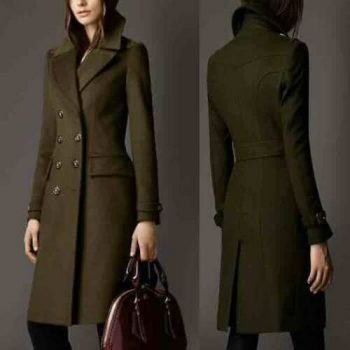 2021 New Green Women Wool long Trench coat Double Breasted expedited shippping