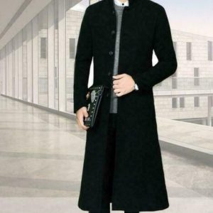 new Mens Parka Trench Coat Wool Blend Single Breasted Knee Long Jacket #6