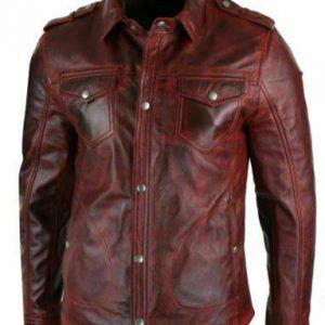 Men's Real Lambskin Genuine Leather Shirt Stylish