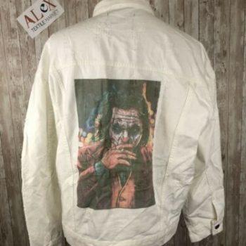 Joker Print Denim Ripped Destroyed Jacket