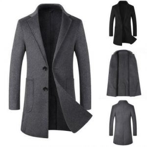 Mens M-8XL Wool Trench Coat Cashmere Single Breasted Overcoat Business Casual L