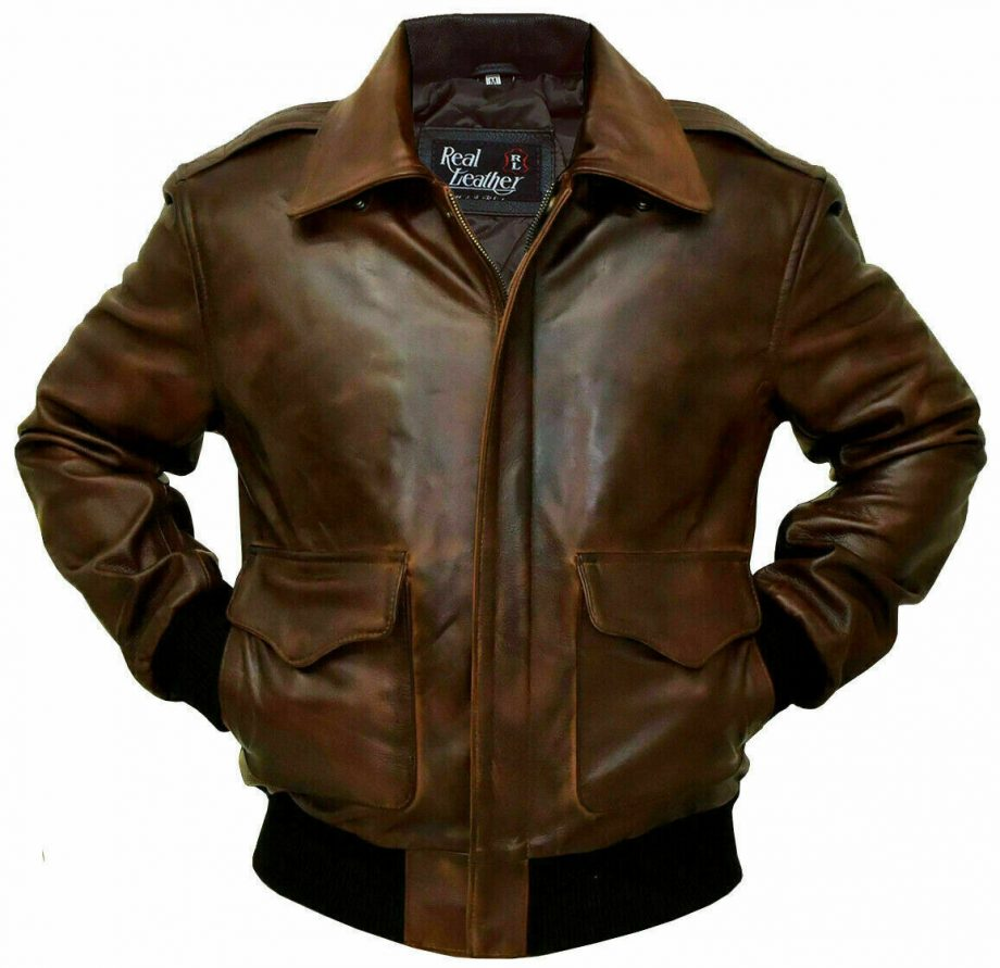 A-2 Men's Aviator G-1 Flight Brown Leather Jacket