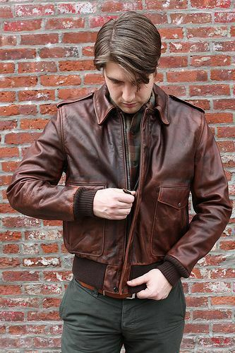 Aviator A-2 Flight Jacket Distressed Brown Leather Jacket